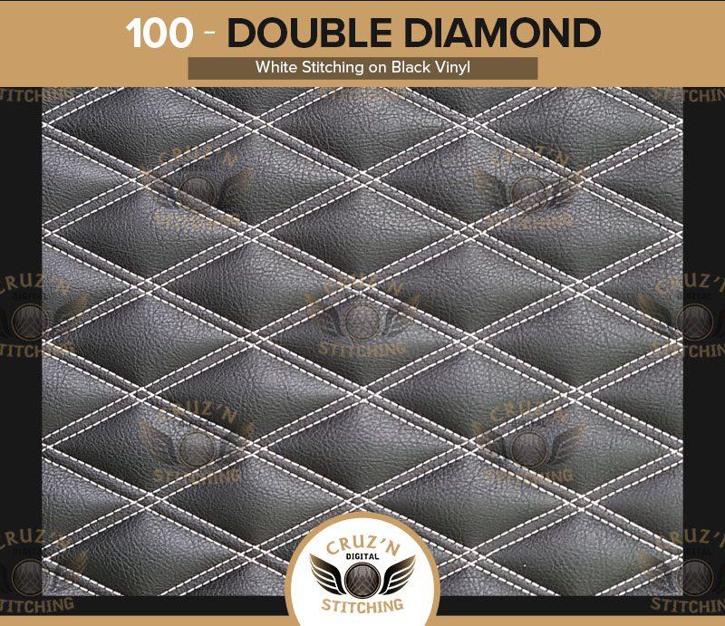100 Digital Stitching Double Diamond White on Black VinylGold