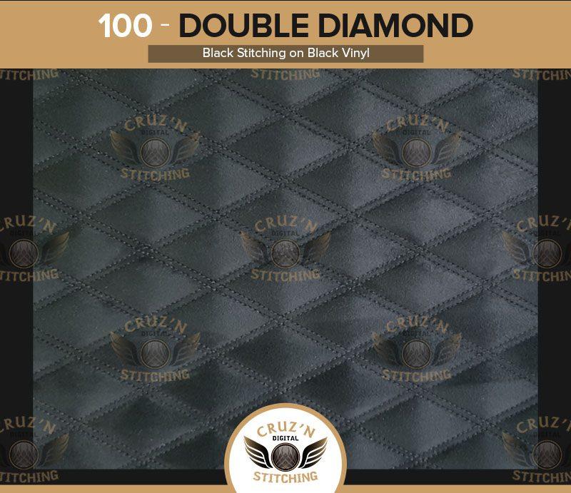 100 Digital Stitching Double Diamond-black Stitching on black vinyl
