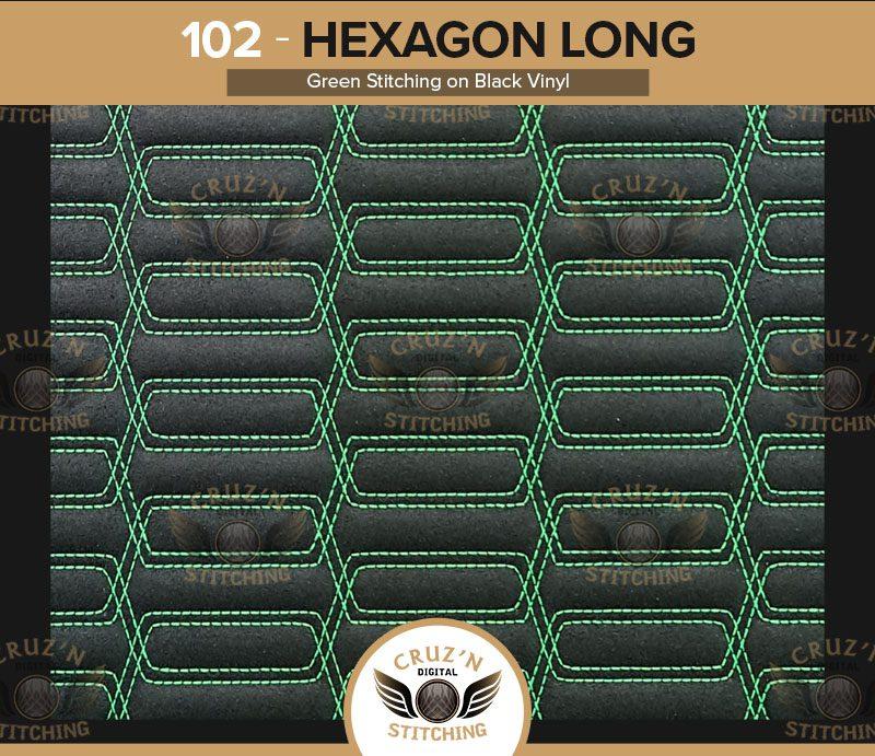102 Digital Stitching Hexagon Long Green stitching on black vinyl