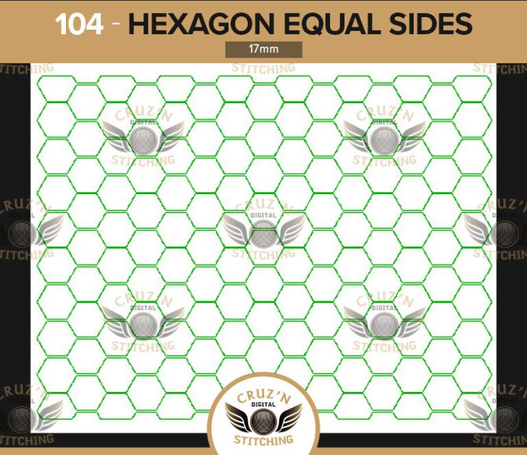 104 Cruzn Digital Stitching Hexagon Equal Sides 17mm