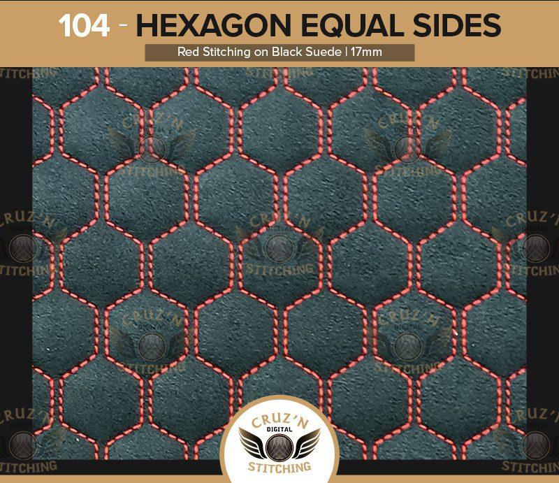 104 Cruzn Digital Stitching Hexagon Equal Sides Red Stitching Black Suede 17mm