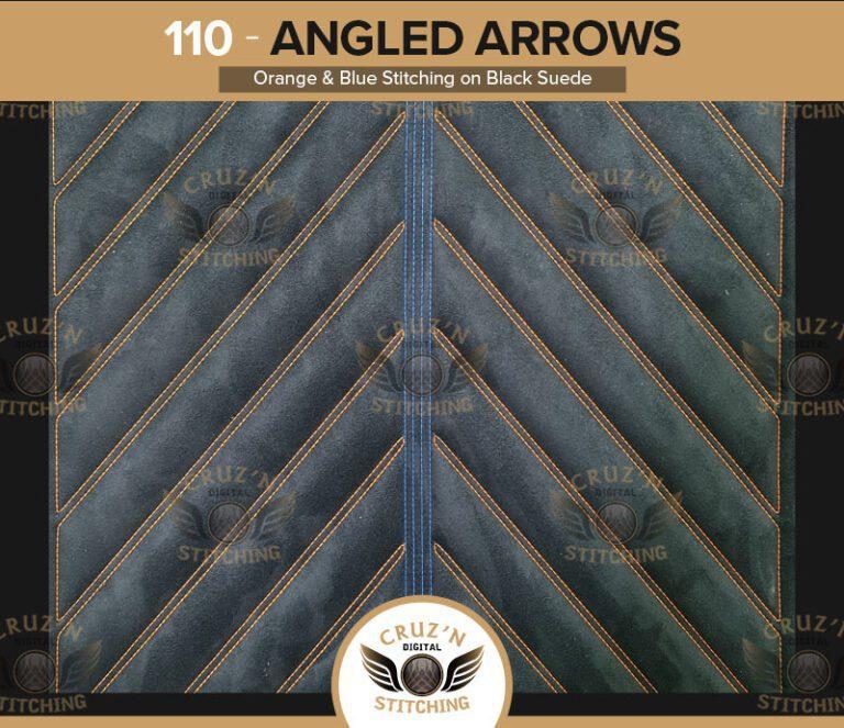 110 Cruzn Digital Stitching Angled Arrows Orange Blue Stitching Black Suede