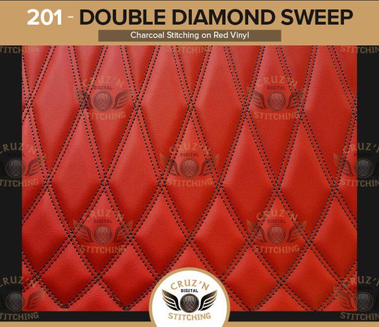 201 Cruzn Digital Stitching Double Diamond Sweep Charcoal Stitching Red Vinyl