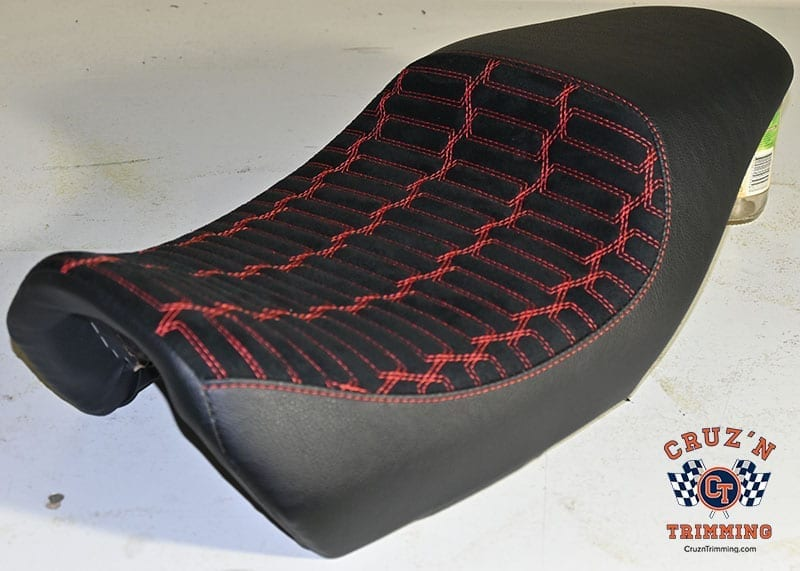 Harley Davidson Street 500 Custom Motorcycle Seats - Red Stitch on Suede 2