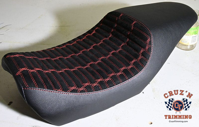 Harley Davidson Street 500 Custom Motorcycle Seats - Red Stitch on Suede 5