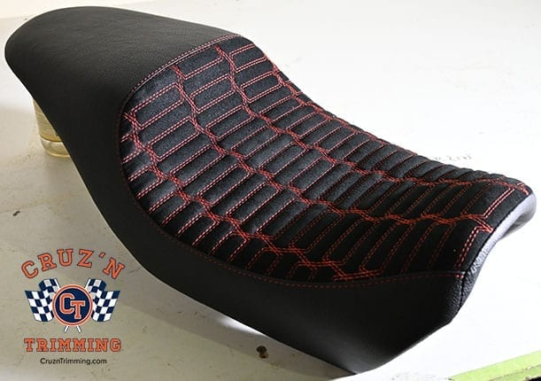 Harley Davidson Street 500 Custom Motorcycle Seats - Red Stitch on Suede 7