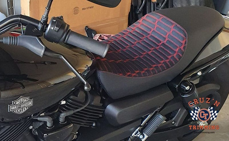 Harley Davidson Street 500 Custom Motorcycle Seats - Red Stitch on Suede 8