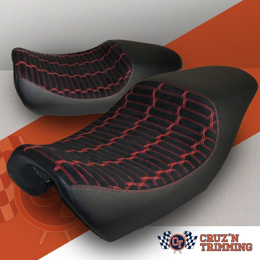 Harley Davidson Street 500 Custom Motorcycle Seats - Red Stitch on Suede Product Ad